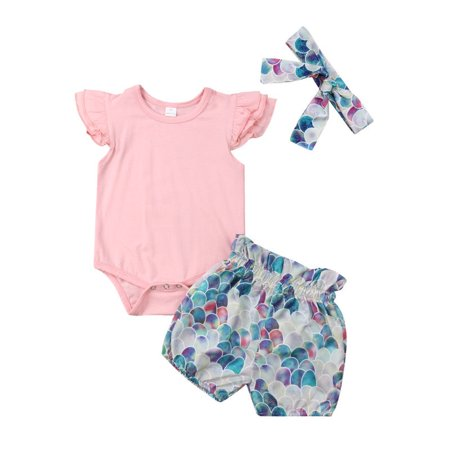 Newborn Baby Girl Summer Outfits Clothes Mermaid Tops Romper+Shorts 3PCS Set