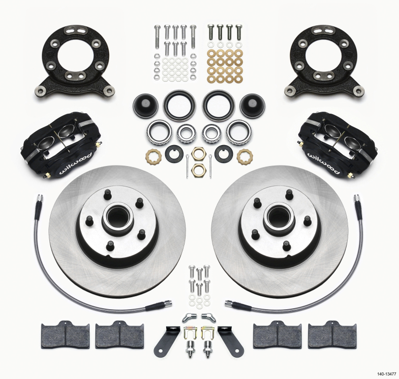 Wilwood Forged Dynalite-M Front Kit 11.30in 1 PC Rotor&Hub 1970-1973 Mustang Disc & Drum Spindle