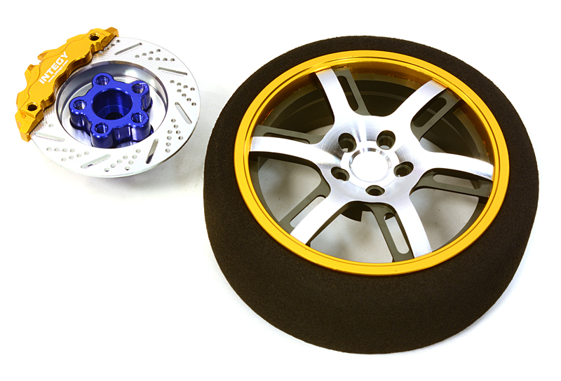 Integy RC Toy Model Hop-ups C26911GOLD Billet Machined Alloy 6 Spoke Steering Wheel Set... by Integy