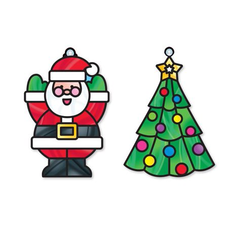 Melissa & Doug Stained Glass Made Easy Craft Kit - Santa and Tree (Easy Arts And Crafts For 3 Year Olds)