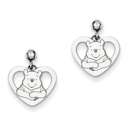 (Sterling Silver Disney Winnie the Pooh Heart Dangle Post Earrings)