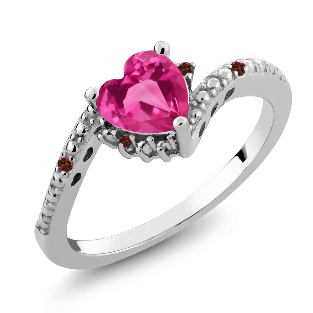 0.83 Ct Heart Shape Pink Created Sapphire Red Garnet 18K White Gold Ring by