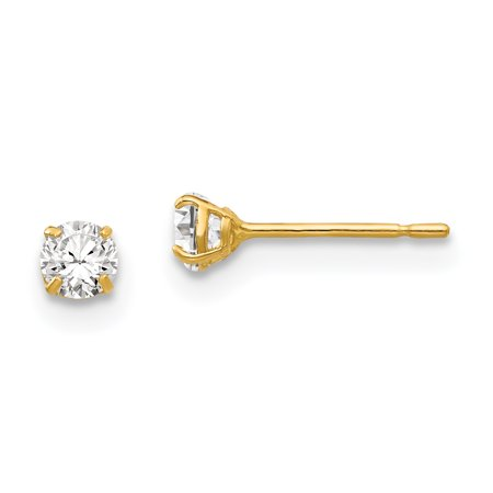 14K Yellow Gold 3mm Round CZ Post Earrings - image 2 of 2