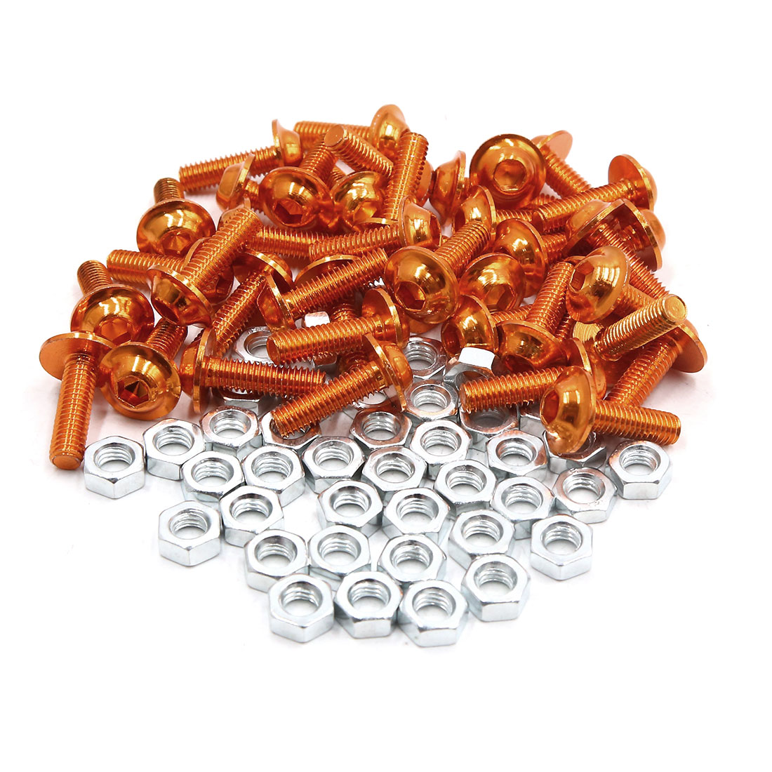 40pcs M6 Orange Aluminum Alloy Hex Socket Head Motorcycle Bolts Screws Nuts