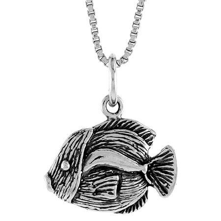 Sterling silver fish pendant 12 inch tall walmart sterling silver fish pendant 12 inch tall aloadofball Image collections