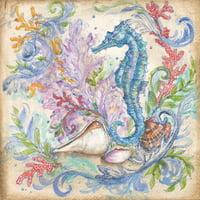 Low Tide III Coastal Seahorse Nautical Print Wall Art By Kate McRostie