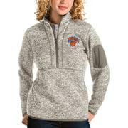 New York Knicks Antigua Women's Fortune Quarter-Zip Pullover Jacket - Natural
