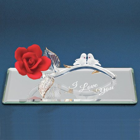 I Love You Red Rose Doves Glass Figurine Glas Baron Gifts For Women For Her