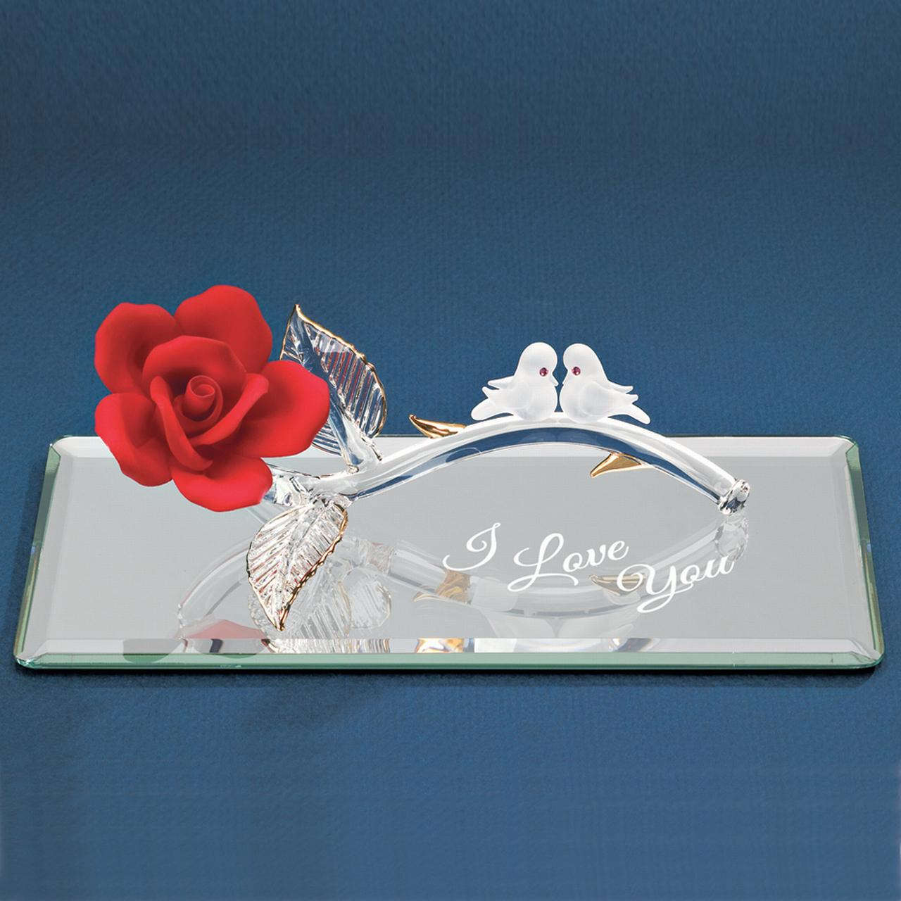 I Love You Red Rose Doves Glass Figurine Glas Baron For Women
