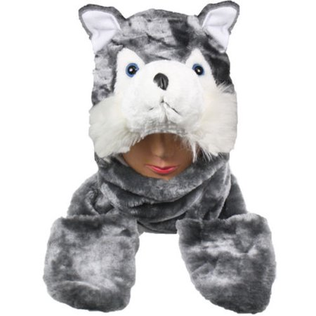 Plush Fleece Animal Hat GREY WOLF with Mittens cute warm winter gift USA Teens Adult](Grad Hat)