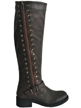 Product Image Megen-03 Womens Knee High Military Combat Flat Equestrian  Riding Boots Brown 6763cd76fbe5