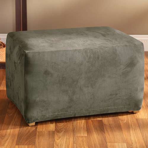Sure Fit Stretch Suede Ottoman Slipcover