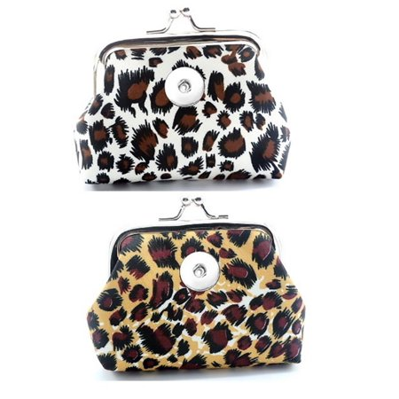 9fd72076a4ee Body Colorz - Leopard Pocketbook Snap Button Charm change coin purse set of  2 Free Snap - Walmart.com