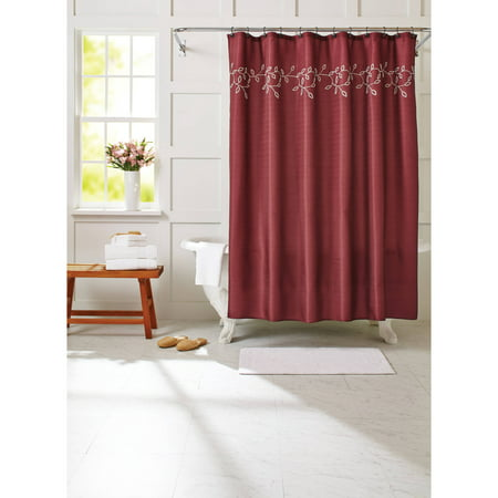 Better homes and gardens red embroidered vines 13 piece Better homes and gardens shower curtains