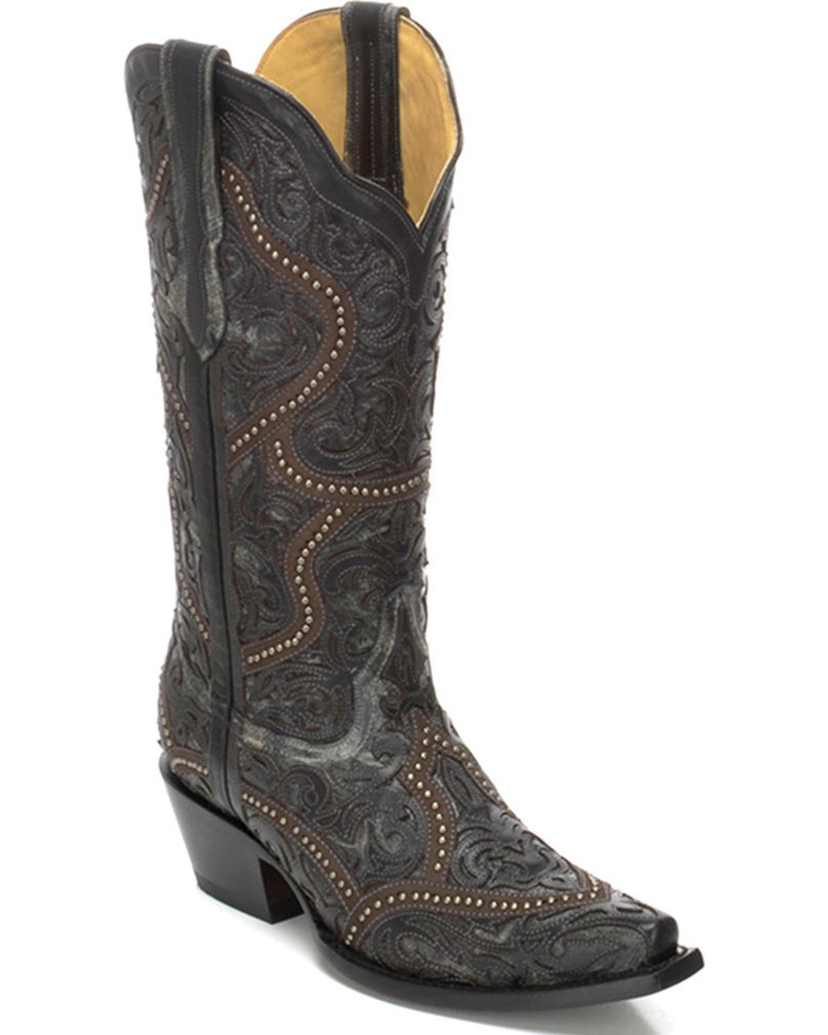 Women's Full Overlay and Studs Cowgirl Boot Snip Toe - G1310