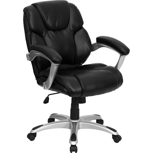 leather mid-back office computer chair, black - walmart