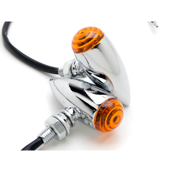 Krator Motorcycle 2 pcs Chrome Amber Turn Signals Lights For Honda Shadow Sabre VT VF 700 750 1100