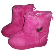 One Button Fur Lined Footwear Fashion Boots for Toddler Girls (Little Kid 3M, Hot Pink)
