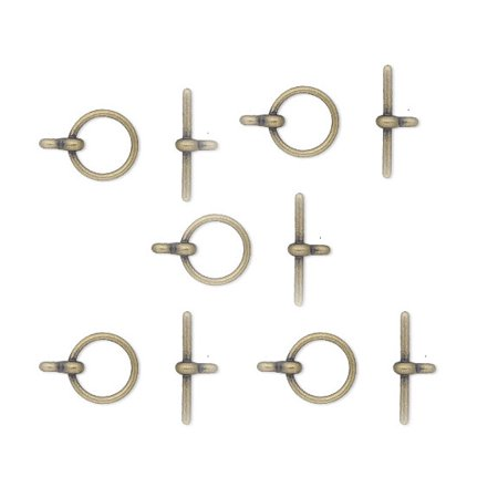 19 Antiqued Gold Plated Brass Jewelry Toggle Clasps 12mm Basic Findings