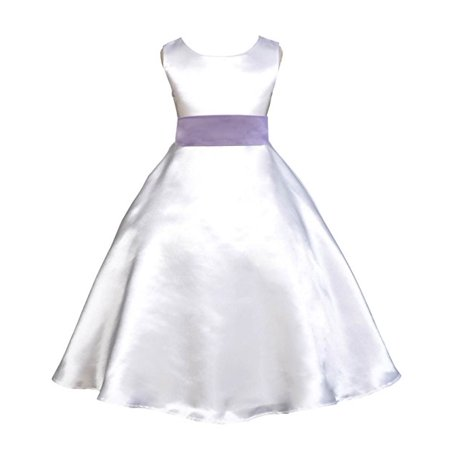 White Occasion Dresses (Ekidsbridal White Satin A-Line Flower Girl Dresses Pageant Wedding Formal Special Occasion Dresses Recital Ball Gown Holiday Easter Seasonal Birthday Dresses Junior Toddler)