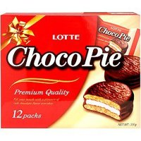 Lotte Choco Pie 12 Individually Wrapped Chocolate Snack Pies 11.85 oz (1 Pack)