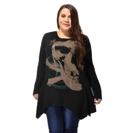 Ladies Long Sleeve Asymmetric Hem Skull Print Plus Size Blouse T-Shirt Black 2X - image 4 of 6