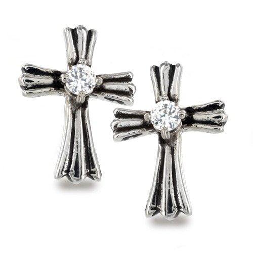 West Coast Jewelry Cubic Zirconia Royal Cross Earrings