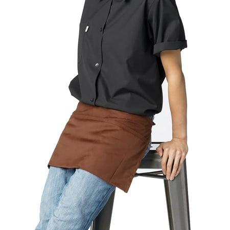 Cotton Waist Apron with 3 Pockets Kitchen Restaurant Bistro Craft Garden Half Short Aprons for Men, Women, Chef, Baker, Servers, Waitress, Waiter, Craftsmen Work Apron Uniform, Brown ()