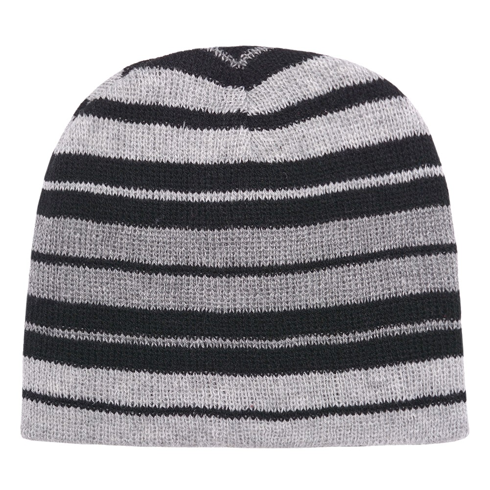 Gold Medal Girls Black Grey Striped Knitted Beanie Stocking Hat