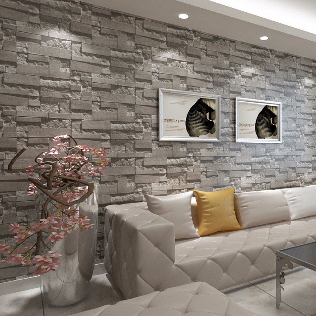3D Wallpaper Bedroom Living Mural Roll Modern Faux Brick Stone Wall  Background(not Self Adhesive)(glue Is Not Included)