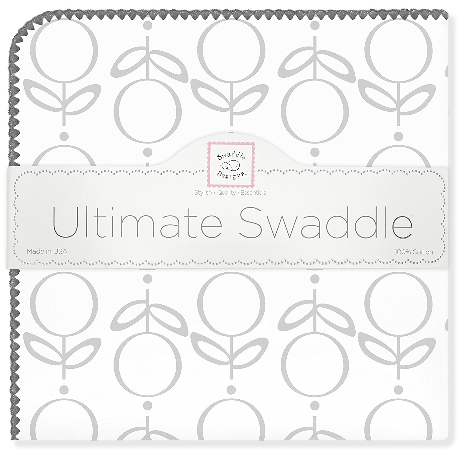 Ultimate Swaddle Blanket, Made in USA, Premium Cotton Flannel, Sterling Lolli Fleur, Baby soft, Premium USA Cotton Flannel featuring.., By SwaddleDesigns