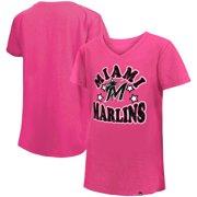 Miami Marlins New Era Girls Youth Jersey Stars V-Neck T-Shirt - Pink