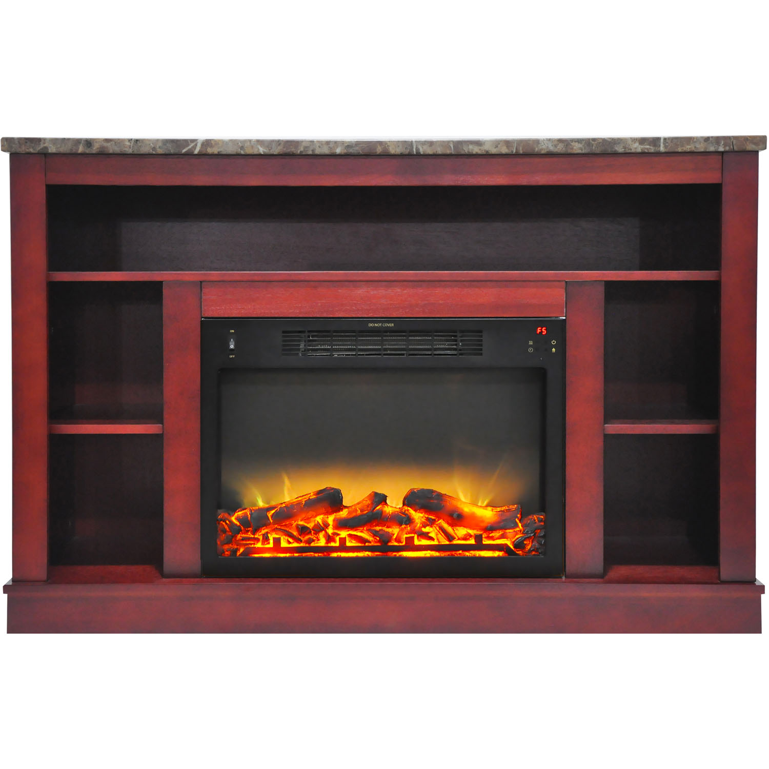 "Cambridge Seville 47"" Electric Fireplace Mantel Heater with Enhanced Log and Grate Display"