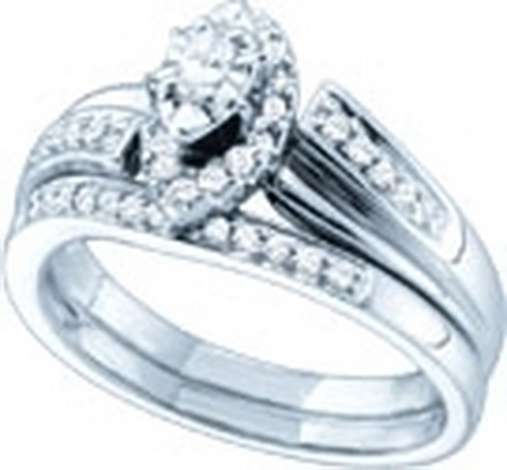 10kt White Gold Womens Marquise Diamond Bridal Wedding Engagement Ring Band Set 1/3 Cttw