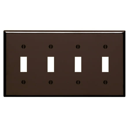 Leviton 85012 Brown Four Gang Toggle Light Switch Wall (Gang Wall Plates Leviton Toggle)