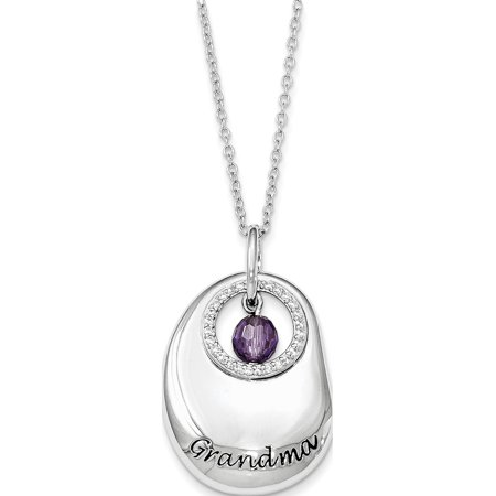 Sterling Silver Antiqued CZ For You Grandma 18in. Necklace Cubic Zirconia Antiqued Bead