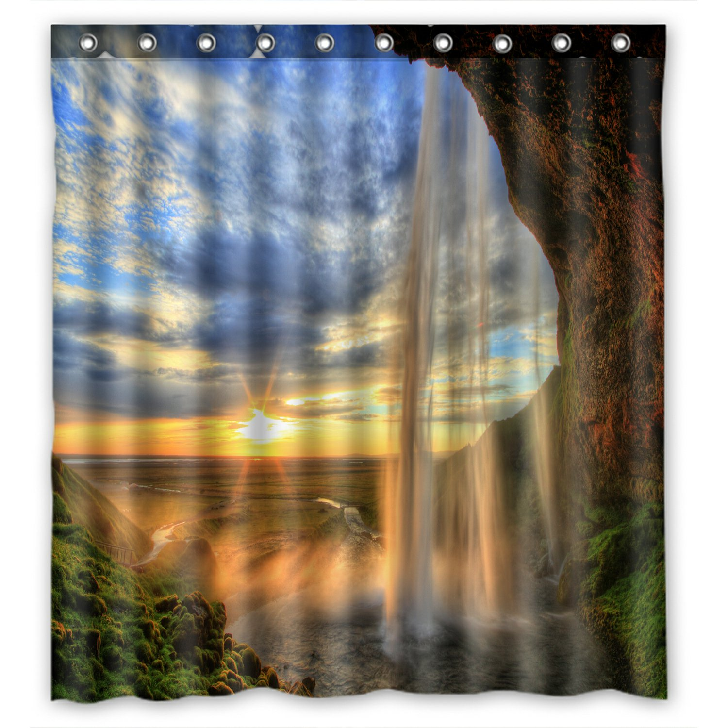 phfzk landscape nature scenery shower curtain, waterfall mountain at sunset, iceland polyester