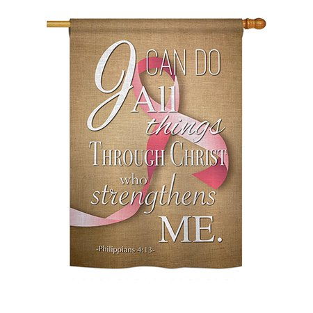 Ornament Collection - I Can Do All Things Through Christ Pink Ribbon Inspirational - Everyday Support Impressions Decorative Vertical House Flag 28