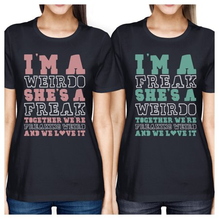 Weirdo Freak BFF Matching Shirts Womens Navy Gift For Teen Girls - Cheap Tops For Teens