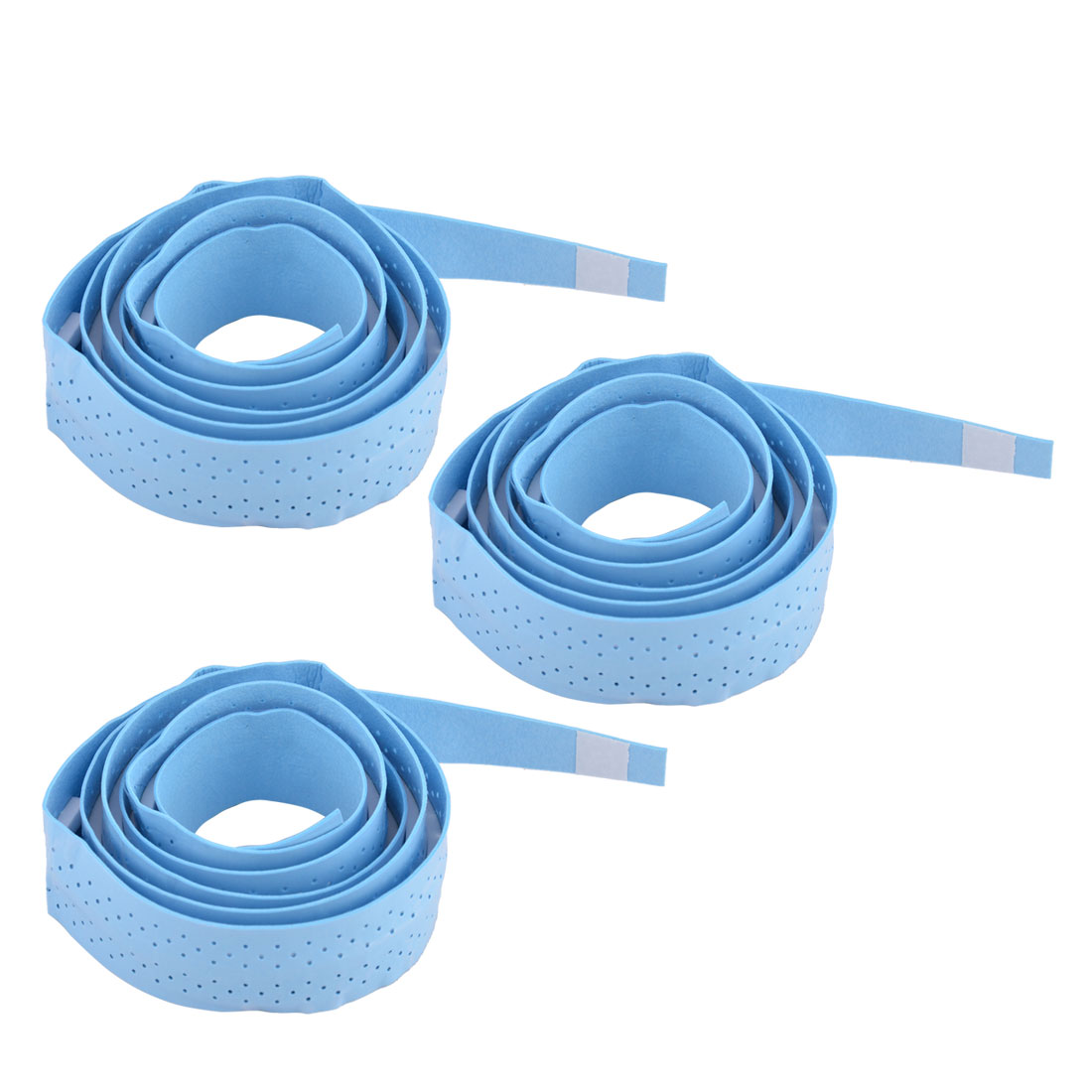 Badminton Foam Nonslip Racket Sweat Absorbing Wrap Over Grip Tape Blue 3 Pcs