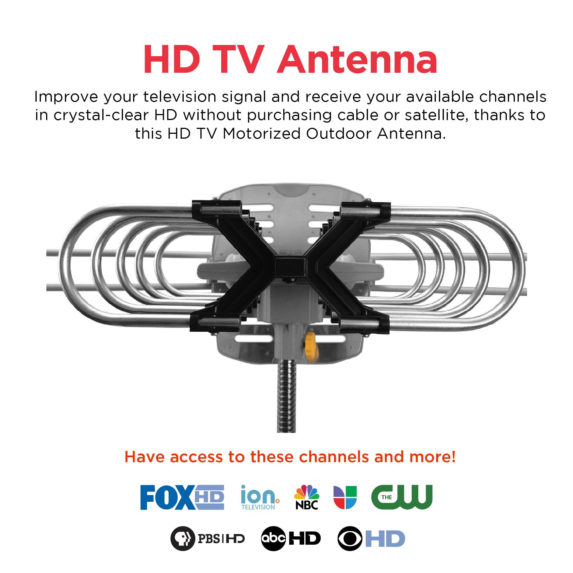 ematic hd tv motorized outdoor antenna with 150-mile range,refurbished -  walmart com