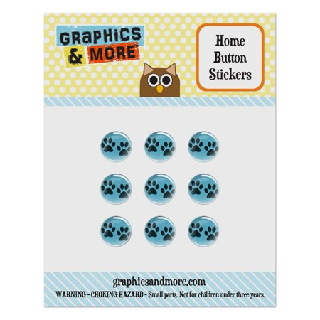 Paw Prints Artsy Blue Home Button Stickers Set Fit Apple iPhone iPad iPod Touch