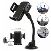 "Universal Car Phone Mount, 2 in 1 Long Arm Cell Phone Holder for Car Dashboard & Windshield with Suction Cup Compatible with iPhone Xs Max/X/XR, Samsung S10/S10+/S9/Note 9/8, All 4-6"" Smartphones"