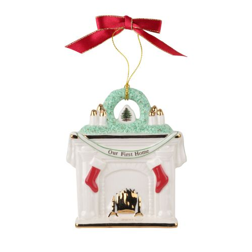 Spode Our First Home Fireplace 2016 Christmas Tree Ornament
