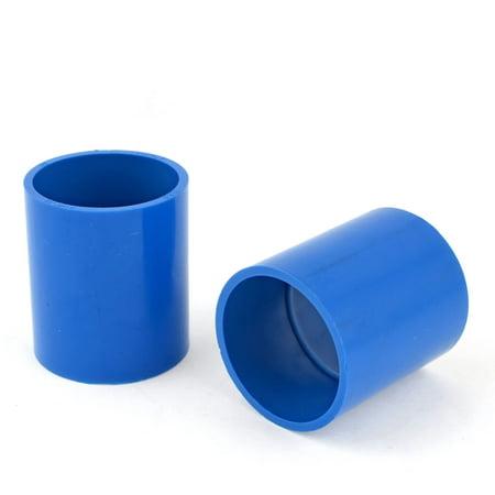 Straight 2 Pvc Coupling (Unique Bargains 2PCS 50mm Inside Dia PVC-U Straight Tube Coupling Pipe Connectors Blue )