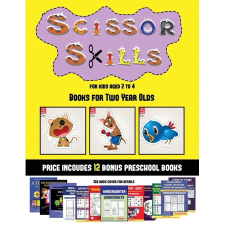 Books for Two Year Olds (Scissor Skills for Kids Aged 2 to 4) : 20 full-color kindergarten activity sheets designed to develop scissor skills in preschool children. The price of this book includes 12 printable PDF kindergarten