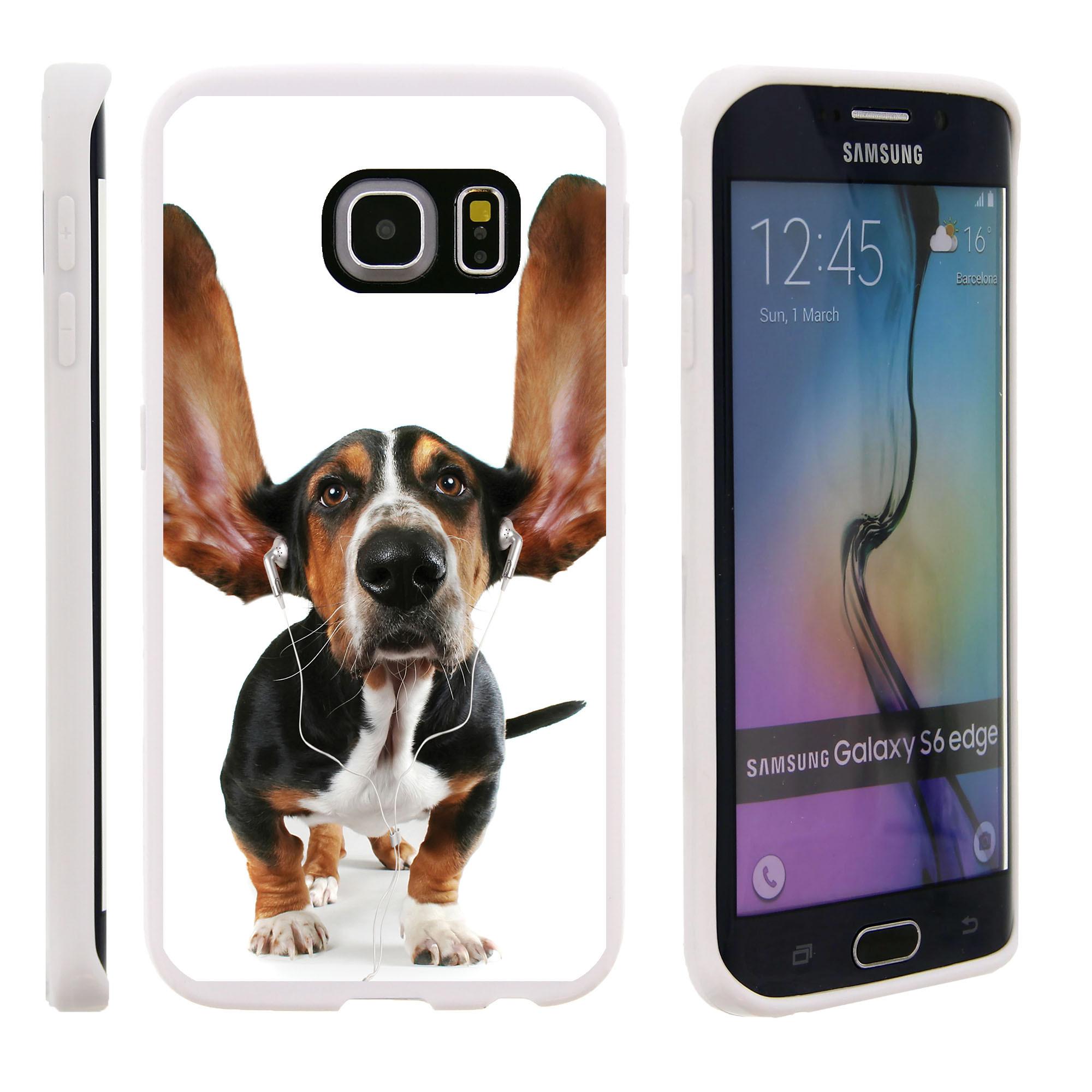 Samsung Galaxy S6 Edge G925, Flexible Case [FLEX FORCE] Slim Durable TPU Sleek Bumper with Unique Designs - Dog in Earphones