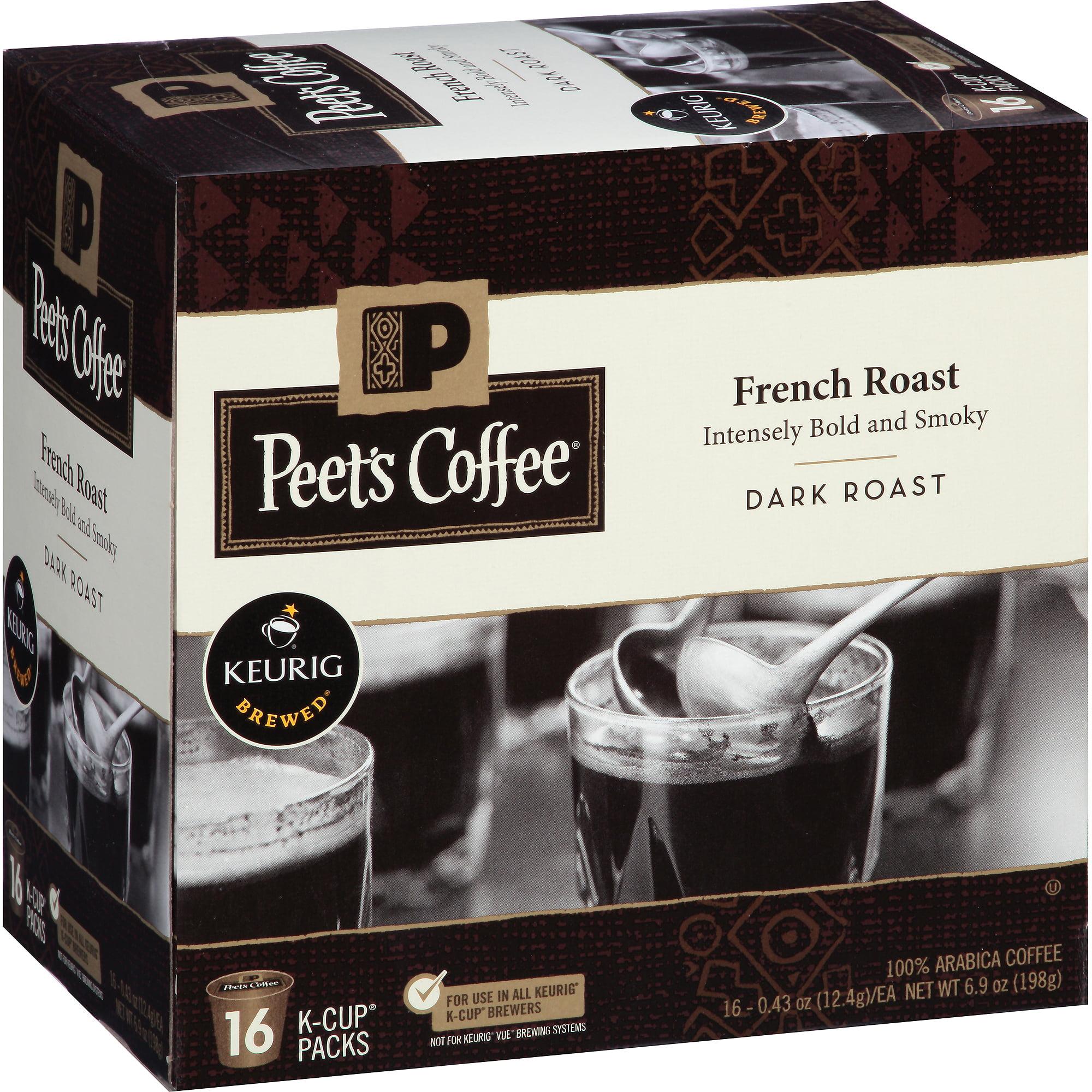 Peet's Coffee French Roast Dark Roast Coffee K-Cup Packs, 0.43 oz, 16 count