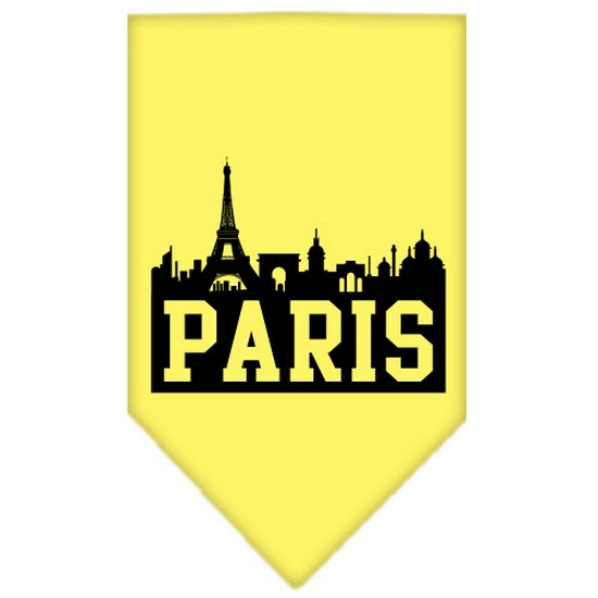 Image of Mirage 66-81 SMYW Paris Skyline Screen Print Pet Bandana Yellow Small