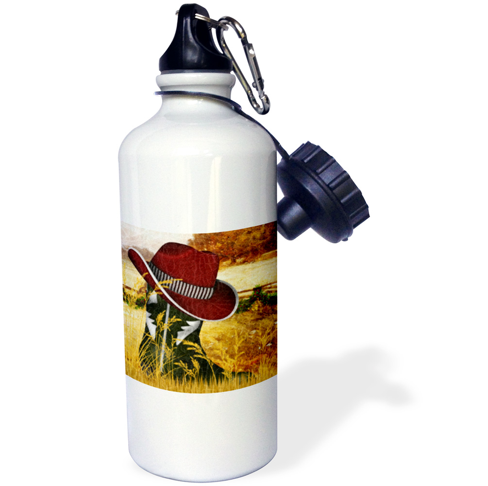 3dRose Western green cowboy boot with a red cowboy hat for Christmas., Sports Water Bottle, 21oz
